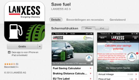 Lanxess, brandstof, app